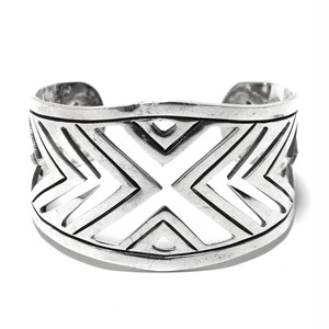 Vintage Sterling Silver Mexican Geometric Pattern Bangle