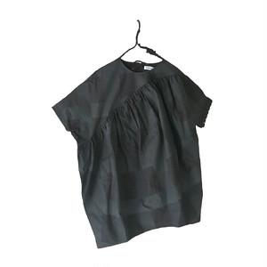 ORIG. CHECK MIX SLANT GATHER DRESS / WOMEN