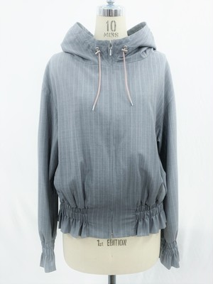 PIN-STRIPE HOODED BLOUSON