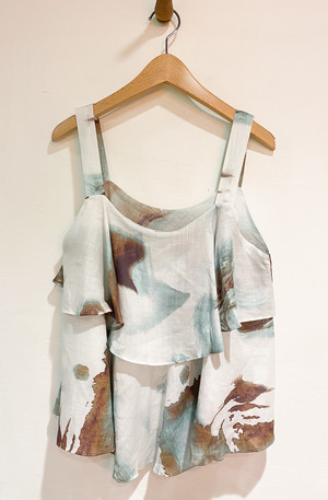 ladies' / botanical printed linen pullover