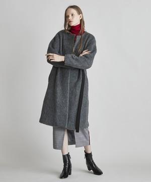 【予約】上質シャギーベルト付きノーカラーコート(グレー)