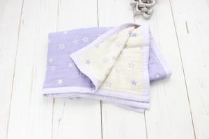リバーシブル パープル星柄のふわふわガーゼケット(おくるみ・ひざかけ)紫 男の子 出産祝い