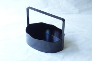 越前塗 木製 莨盆(たばこぼん)小判型 手付 溜(小物入)