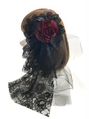 1点物★ヘッドドレス&コサージュ(BK×WN)