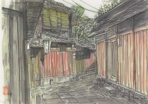 「水彩画ミニアート」京都 石塀小路(いしべこうじ)