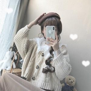 【セットアップ】スウィートニットセーター+POLOネックシャツ二点セット