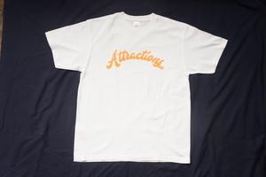 Attractions Logo S/S Tee(Body:White Print:Fluorescent Orange)