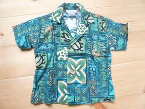 HAWAII製ビンテージコットンアロハシャツ緑系/ハワイアンOLD