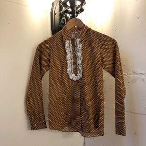 VINTAGE brown white dot front frill blouse