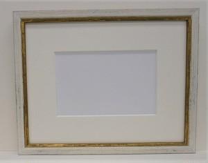 アンティークおしゃれフレ-ム10-3088ホワイト-額縁寸法230mm×180mm窓枠寸法218mm×168mm 2mmアクリル/トンボ/マット付き(箱なし)クリックポストにて発送