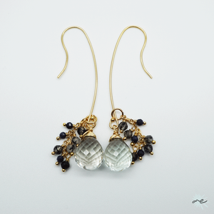 Green Amethyst 2Way Earrings/14KGF
