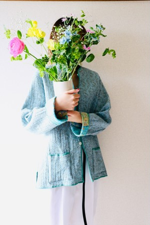 Vintage flower pattern reversible jacket