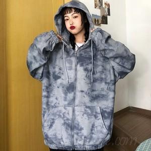 【アウター】店舗人気NO.1韓国系フード付きボウタイグラデーション色ジッパーカーディガン37681846