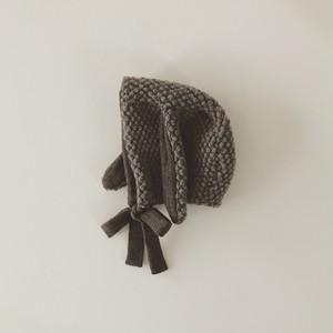pocopoco rabbit bonnet : milk brown (size XS,S,M)