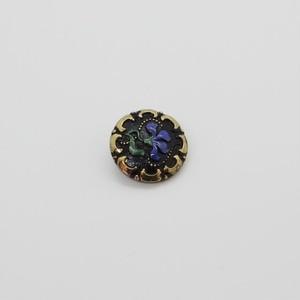 チェコガラスボタン2.25cm::: 可憐な1輪の花 青