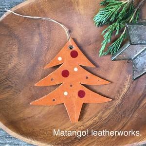 ◆レザーオーナメント◆革 キャメル 飾り ドット クリスマスツリー クリスマス