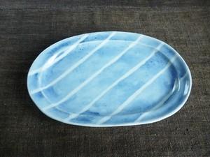 染付しま文だ円皿