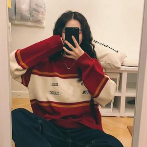 【トップス】韓国系新作アルファベット刺繍ゆるリラックスラウンドネックセーター