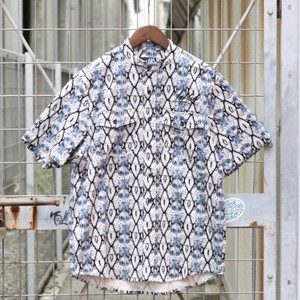 LEFLAH / レフラー |【SALE!!】SNAKE PATTERN NO COLLAR HS/SHIRT - Blue