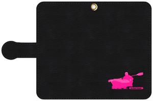 手帳型スマホケース・黒レザー調 S, Mサイズ パドリングシルエット(Leo R. Yamada)・ピンク