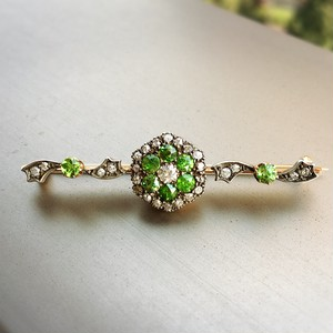 Demantoid Garnet and Diamond Brooch