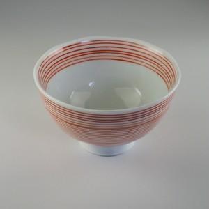 赤千筋飯碗 中 [ 11.3 x 6.6cm ] 【黒と白】