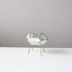 ガラス結晶形態模型 / ジルコン 蓋付きケース / 脚付き