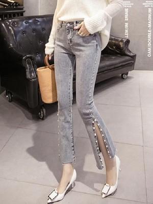 【bottoms】Women's fashion bead split jeans