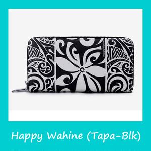 ハワイ直輸入! Happy Wahine 財布 タパ柄(黒)