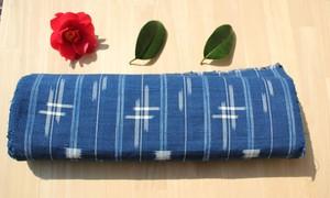 手織り生地 藍染め 絣柄 コットン100%   草木染め ふんどしパンツ ベビーグッズ制作に!