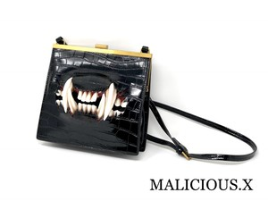 cat fang square shoulder bag(crocodile)