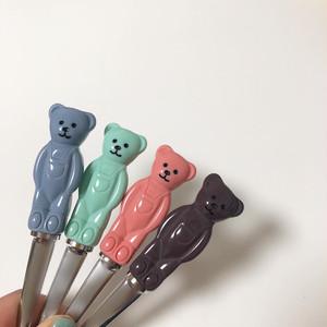 bear spoon fork SET ver.2 4colors / くまさん スプーン フォーク セット クマ テディーベア カトラリー 韓国 雑貨