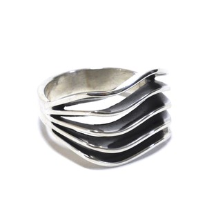 Navajo Sterling Silver 5 Sprit Wave Ring by James Bahe
