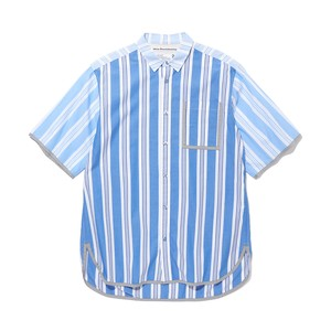 STRIPED BIG HALF SLEEVES SHIRT -BLUE