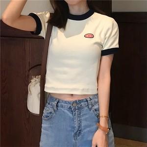 【トップス】プリントショート丈半袖カジュアルTシャツ