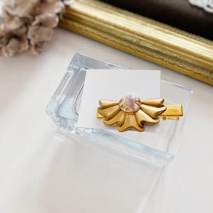 【namy.】ヘアクリップUSA真鍮ヴィンテージ扇×天然石