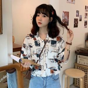 【トップス】ファッションレトロかっこいいプリントロングシャツ25688914