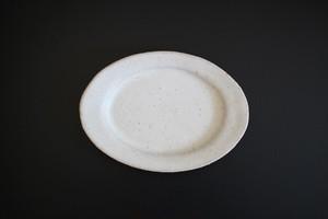 古川元吾(撫菜花工藝)|白釉楕円豆皿