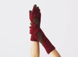 % PERCENT 手袋(COMFORTABLE:ワインレッド・ブラウン)指暖・セルフヒーター・ホールガーメント・裏起毛・スマホ対応・ギフト箱付き(男女兼用フリーサイズ)