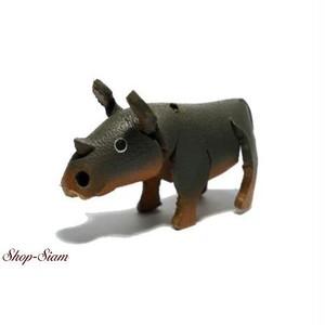 本牛革 アニマル キーチェーン サイ/Rhino ハンドメイド製