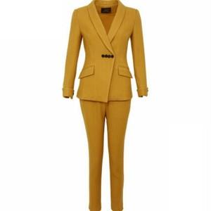 送料無料セットアップ/スーツ/黄色/ジャケット+パンツ