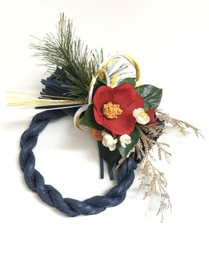 お正月飾り 椿×ネイビーリース