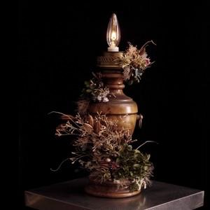 hydrangea mosgreen wood lamp vintage