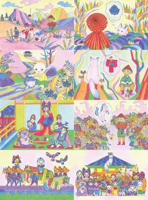 小鬼の遠野物語ポストカードセット①「狐の話」