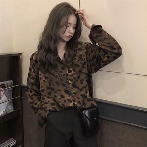 【トップス】ファッション長袖POLOネックシングルブレストヒョウ柄シャツ22618713
