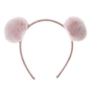 H1420P Fluffy Pom Pom  Headband Pink