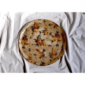 【vintage rose tray 】アメリカンビンテージ 薔薇 ばら USA トレー 丸盆