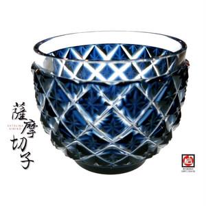【- 薩摩切子 -】復元 猪口D おちょこ(藍/紺)