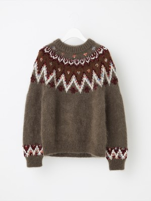 【COOHEM  WOMEN】MOHAIR NORDIC SWEATER