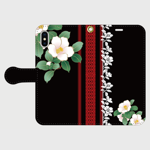 博多献上・Black椿ロマンiPhone専用・手帳型